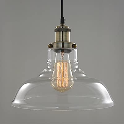 SPARKSOR Pendant Light Hanging Glass Shade Ceiling Mounted Chandelier Fixture, Modern Industrial Edison Vintage Style,Pendant Lighting for Kitchen island?Adjustable Hanging Height,11-inches
