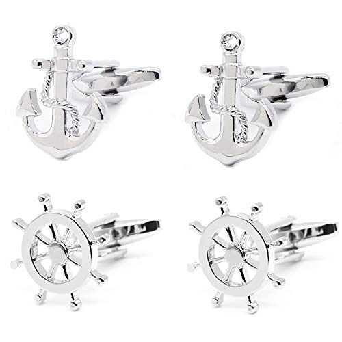 (Gilind 2 Pairs Mens Cufflinks Nautical Anchor Ship Wheel Unique Wedding Business Shirt Cuff Links Mix Design Set Mens Jewelry Gift Box)