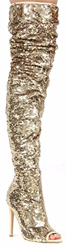 Gold Sequin Boots (Cape Robbin Julia-1 Thigh High Over Knee Sequin Sparkle Open Toe Stiletto Heel Boot Gold 6.5)