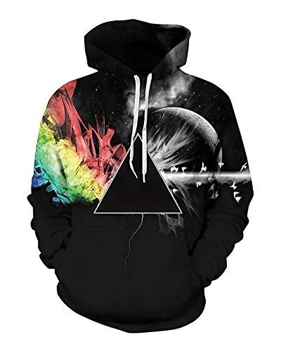 Sankill Unisex Realistic 3d Digital Pullover Sweatshirt Hoodie Hooded Sweatshirt Zip-up Hoodie S-3XL (s/m, black star)