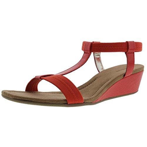 Alfani Womens Voyage Faux Leather T Strap Wedge Sandals Orange 5 Medium (B,M)