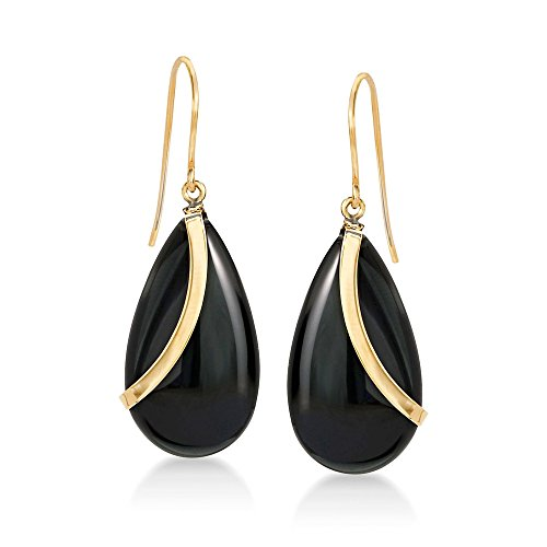 - Ross-Simons Pear-Shaped Black Onyx Drop Earrings in 14kt Yellow Gold
