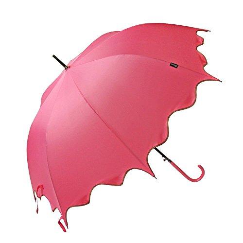 Pink Auto Open Windproof Umbrella Flouncing Rain Umbrella Princess Dome Parasol Long by Umbrella Compact