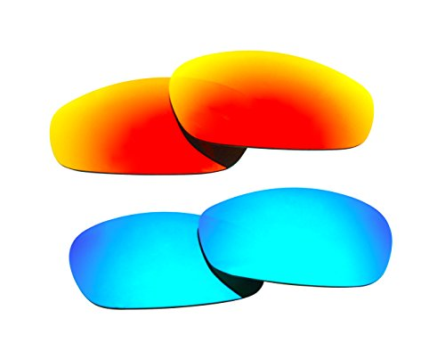 2 Pairs Polarized Replacement Sunglasses Lenses for Oakley Split Jacket with UV Protection(Ice Blue and Fire Red Mirror)