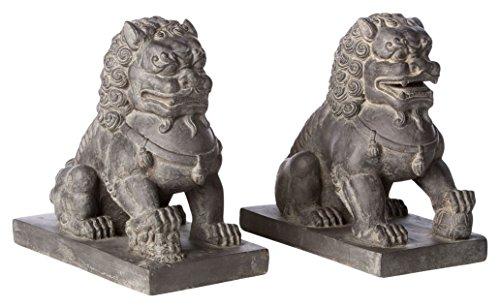 Alfresco Home Foo Dogs-Female Left & Male Right-1 Pair/Carton Figurine, Antique Dark Brown (Antiques Figurines)