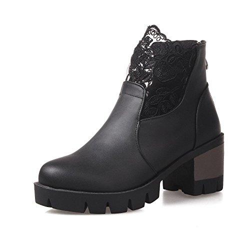 PU verschiedene Zehe Kitten Frauen schwarz AgooLar Reißverschluss Heels Farben runde Stiefel nt0YIwq1