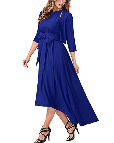 Formal Evening Prom Dresses with Jacket Set for Women Royal Blue S