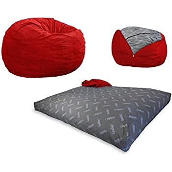 CordaRoy's - Red Corduroy Convertible Bean Bag Chair - Youth