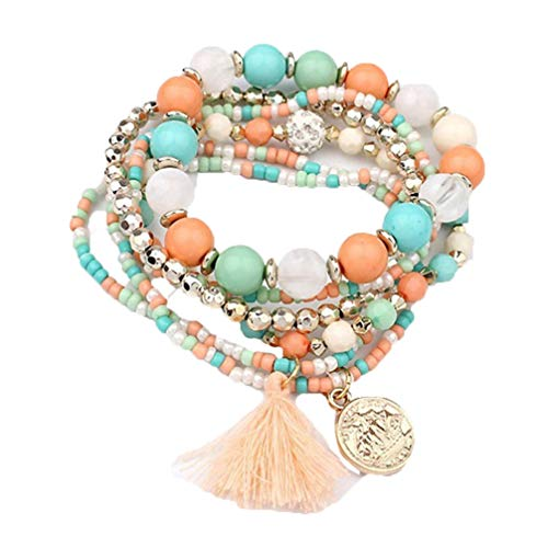 Myhouse Multilayer Human Head Pattern Coin Pendant Beads Tassel Bracelet Charm Accessories,Colorful