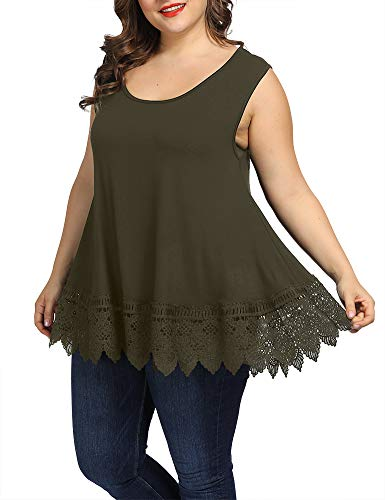Allegrace Women Plus Size Summer Lace Tank Tops Casual Flowy Loose Sleeveless Tunic Cami Shirts Army Green 4X