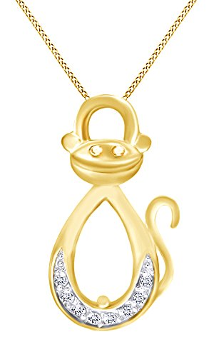 (AFFY White Cubic Zirconia Infinity Monkey Pendant Necklace in 14K Yellow Gold Over Sterling Silver)