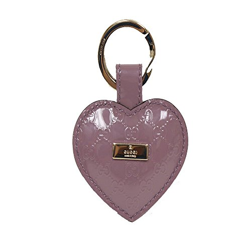 Gucci Light Purple Microguccissima Patent Leather Heart Key Ring 199915 by Gucci
