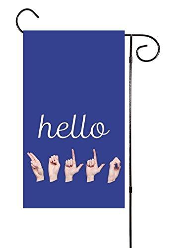 "Unique Textile Printing Hello/ASL American Sign Language Hands - Deaf Garden Flag 12""x18"" ()"