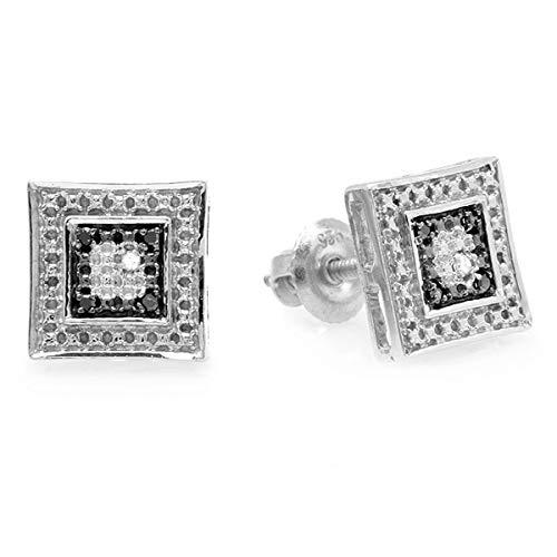 ion 0.05 Carat (ctw) White & Black Round Diamond Micro Pave Setting Kite Shape Stud Earrings, Sterling Silver ()