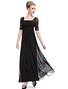 Ever-Pretty Half Sleeve Square Neckline Ruched Waist Evening Dress 08038
