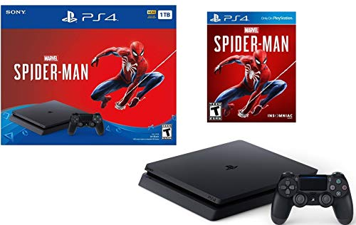 Newest Released Sony Playstation 4 1TB Marvel's Spider-Man Bundle: Playstation 4 1TB Jet Black Console, Marvel's Spider-Man, DUALSHOCK 4 Wireless Controller, Choose Favorite Game and Accessories