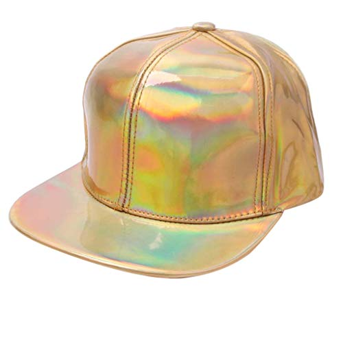 FEDULK Man Women Hip-hop Hat Solid Color Fluorescence Flat-Brimmed Cool Rock Freestyle Adjustable Baseball Caps(Yellow)