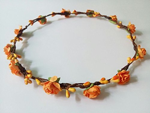 Hippy DIY Handmade Crafts Mini Paper Plum Flower Artificial Berry Crown Headband Hairband Theme Wedding Hair Pieces Boho Garland Holiday Headwear for Women Hippies Teens Toddler (Orange)