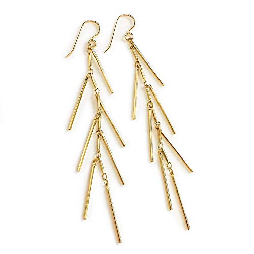 14K Gold Fill Fringe Cluster Tassel Bar Earrings