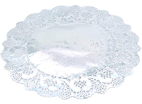 Paper Doily Lace Round Doilies Silver Foil Doilies for Cakes, Desserts, Ideal for Weddings Tableware Decoration Paper Lace Placemats 100 Pcs (12 Inch)