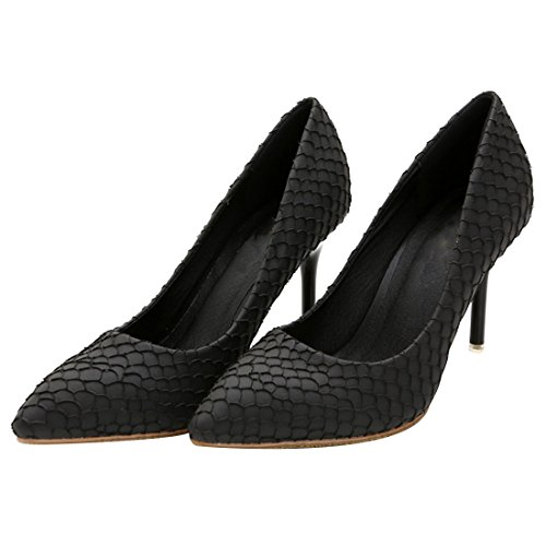 HooH Women's Fish Scale Patterns Pointed Toe Stiletto Dress Pump Black HO2Nfh1srC