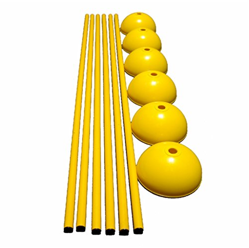 Workoutz 60-Inch Solid Slalom Agility Pole Set with 6 Dome Bases (Includes 6 Poles and 6 Bases) For Soccer, Lacrosse, Football, Dog Training by Workoutz