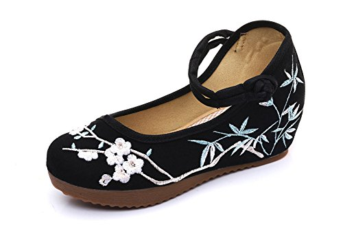 Avacostume Mujeres Floral Embroidery Strappy Casual Plataforma Cuñas Negro