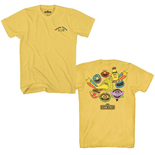 Oscar Sesame Head Street (Sesame Street 1969 Heads Oscar Elmo Cookie Big Bird Bert Ernie Count Grover Classic Vintage Retro Mens Adult T-Shirt (Banana Yellow, Small))