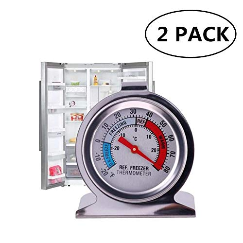 JSDOIN Freezer Refrigerator Refrigerator Thermometers Large Dial Thermometer 2 Pack (2 PACK) ()