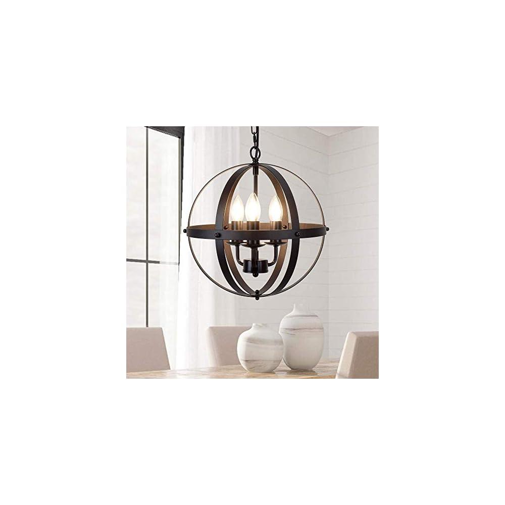 DLLT Vintage Pendant Hanging Light, Flush Mount Ceiling Chandelier Lamp with Metal Spherical Shade for Kitchen, Dining…