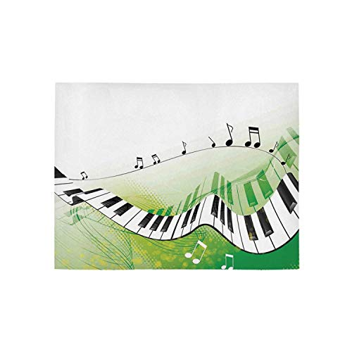 Music Decor Utility Area Rug,Music Piano Keys Curvy Fingerboard Summertime Entertainment Flourish for Home,84