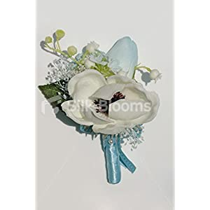 Fresh Touch White Anemone & Blue Tulip Grooms Wedding Buttonhole 13