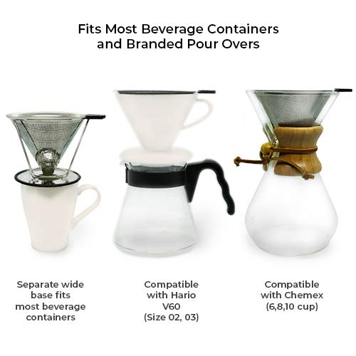 Coffee Dripper - Pour Over Coffee Maker - Reusable Coffee Filter - Сoffee Strainer with Removable Stand and Cleaning Brush, Compatible with Chemex and Hario, Light and Portable, for Home and Travel