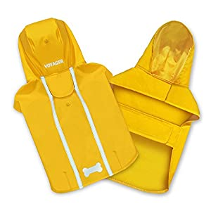 Voyager Waterproof Dogs Raincoat/Rain Poncho by Best Pet Supplies – Yellow, Small