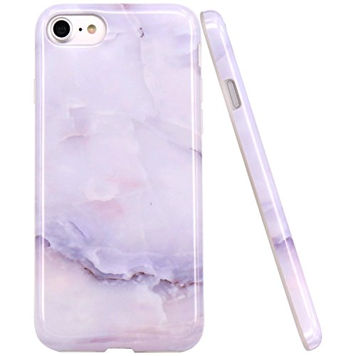 JAHOLAN White Jade Marble Design Clear Bumper Glossy TPU Soft Rubber Silicone Cover Phone Case Compatible with iPhone 7 iPhone 8