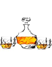 KANARS 5-Piece Everest Lead Free Crystal Whisky Decanter Set. Premium Liquor Carafe (850ml) with 4 Glasses (320ml) for Scotch or Bourbon. Dishwasher Safe