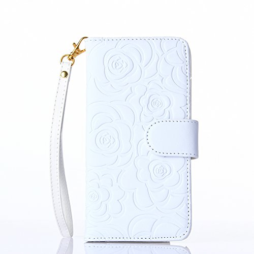 Chanel Real Leather - Fashion Handbag with Detachable Hand Strap Protection Shin for iphone6 case cover,Lovely Wallet Stand with Credit ID Card cash slot Holders (White)