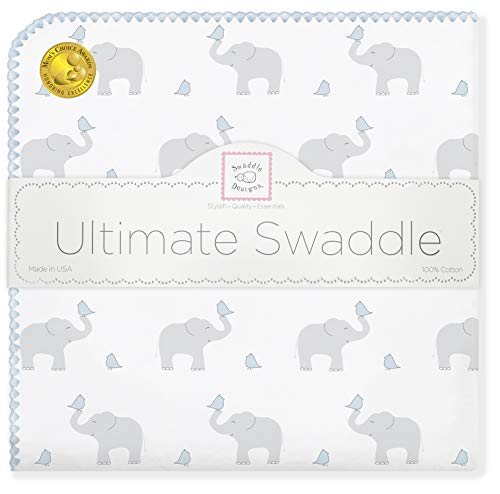 SwaddleDesigns Ultimate Swaddle, X-Large Receiving Blanket, Made in USA Premium Cotton Flannel, Elephant and Pastel Blue Chickies (Moms Choice Award Winner)