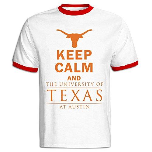 Men's Keep Calm And University Of Texas At Austin Baseball Tee Shirt Red]()