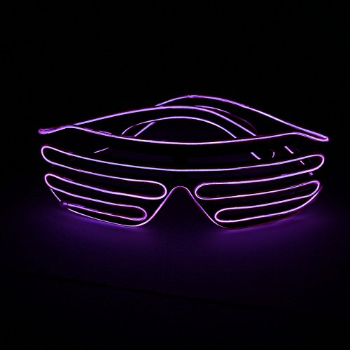 YinStore LED Light Up Glasses glowing glasses EL Wire Neon Glasses for Halloween Disco Bar Glowing Party Mask Decor