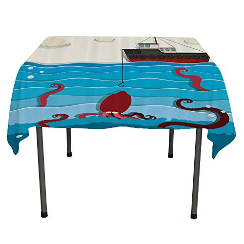 Fishing Decor, Washable Table CoverExotic Giant Octopus in Waves Takes The Bait of a Ship Wild Aqua Graphic Image, Home Decoration Outdoor, 60x60 Inch Blue Red