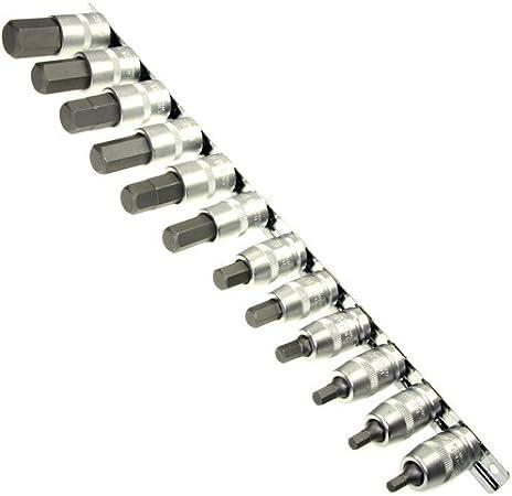 Lot de 12 Douilles de force embouts de tournevis 5–22 mm utilisation Allen Clé Allen pour intérieur 12 CR V sur bande connecteur en