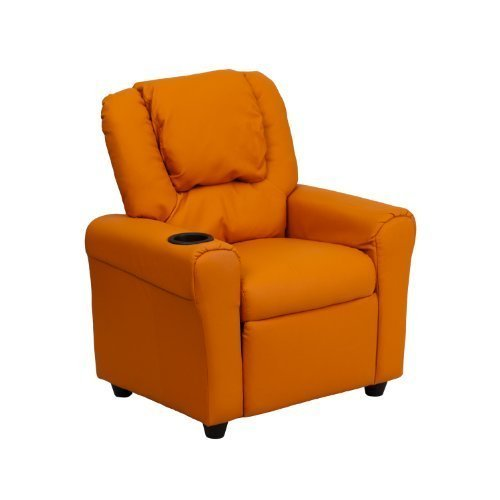 Flash Furniture Contemporary Orange Vinyl Kids Recliner with Cup Holder and Headrest [DG-ULT-KID-ORANGE-GG] by Flash Furniture