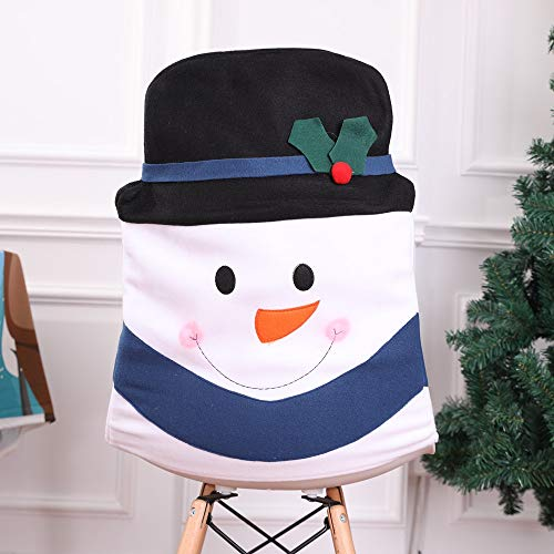 Hot Sale!DEESEE(TM)Christmas Snowman Kitchen Table Chair Covers Holiday Home Decoration (Black) ()