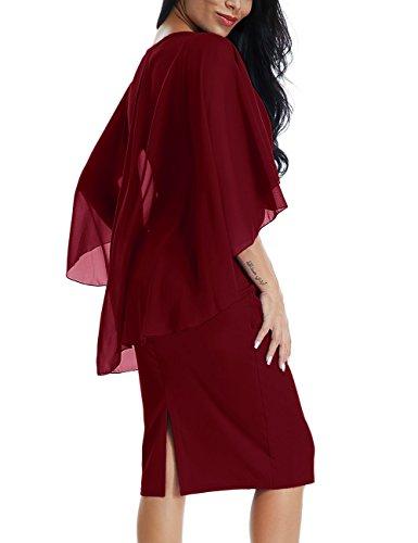 9dece678b658b Lalagen Womens Chiffon Plus Size Ruffle Flattering Cape Sleeve Bodycon  Party Pencil Dress Red XL by