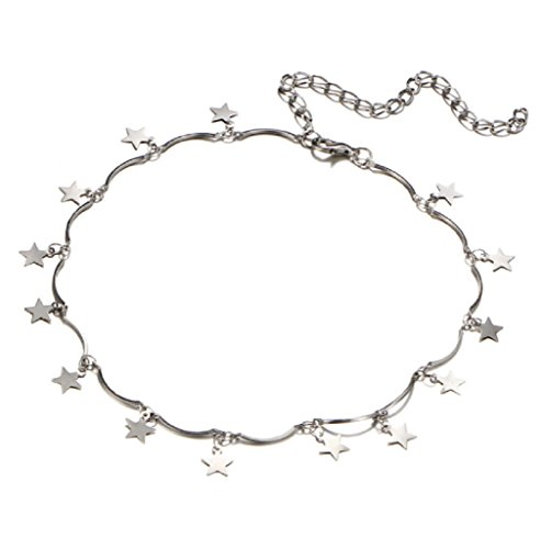 Guyay Stunning Stars Pendant Choker Thin and Short Clavicle Chain Necklace Women's Fashion Jewelry (Silver) - Stunning Star