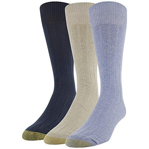 Gold Toe Men's Hampton Crew Socks, 3 Pairs, Sky/oatmeal/midnight Shoe Size: 6-12.5