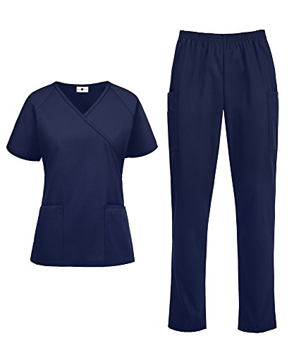 Women's Medical Uniform Scrub Set – Includes Mock Wrap Top and Elastic Pant (XS-3X, 14 Colors) (XXX-Large, Navy)