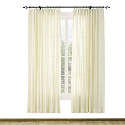 Pleated Voile Pinch Panels - Macochico Elegant Semi Sheer Curtains Pinch Pleat Light Voile Drapes Privacy Protection Lightproof for Bedroom Living Room Cabana Gazebo Pergola Porch Ivory 72W x 84L (1 Panel)