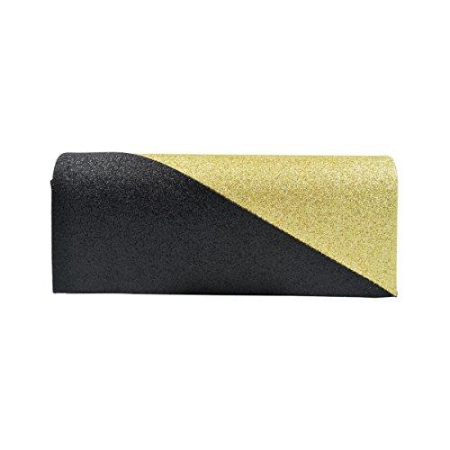 Premium Two Tone Metallic Glitter Flap Clutch Evening Bag Handbag, Gold